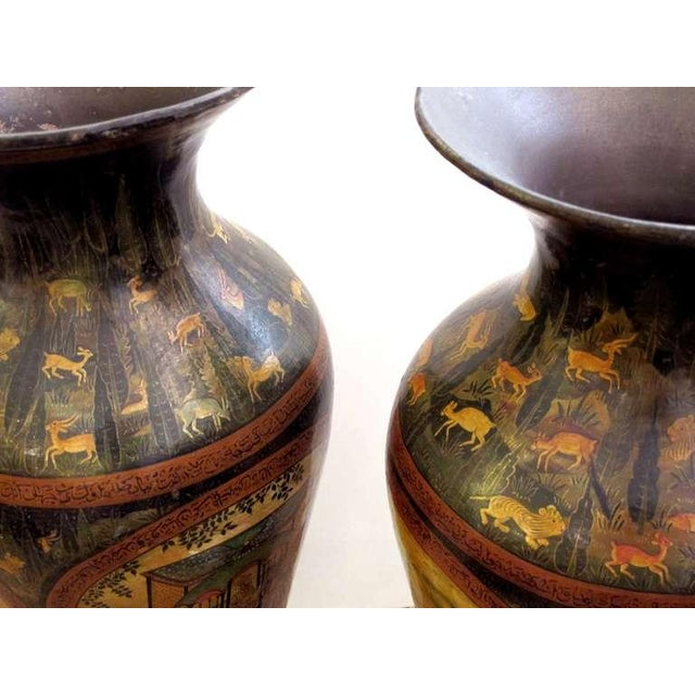 Mid 19th Century A Rare and Exceptionally Large Pair of Kashmiri Indo-Persian Lacquered Copper Baluster-Form Bases For Sale - Image 5 of 10