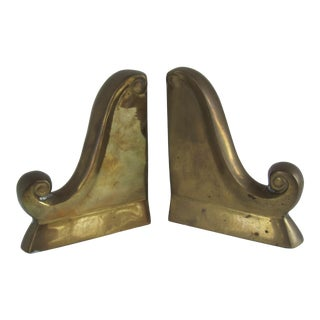 Vintage Brass Scroll Bookends For Sale
