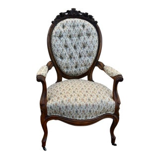Antique Victorian Style Walnut Arm Chair For Sale