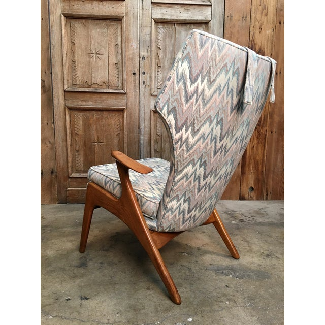 Wood Vintage Mid Century Kurt Ostervig High Back Lounge Chair For Sale - Image 7 of 13