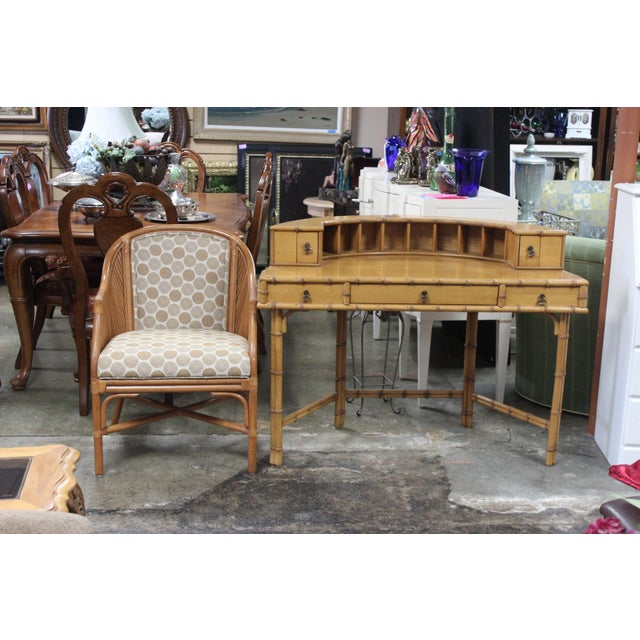 Ficks Reed Writing Desk & Chair - a Pair For Sale - Image 11 of 11