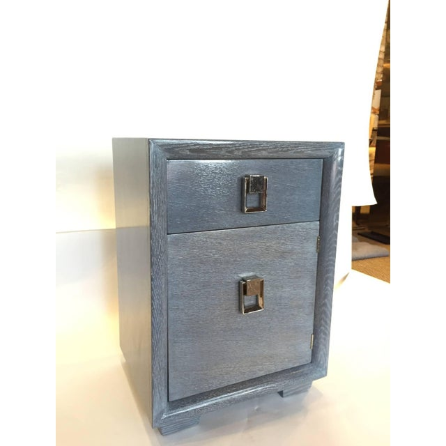 1940s Cerused Grey Oak Nightstand or Side Table - Image 2 of 5