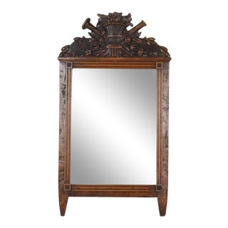 Antique Louis XVI Style Carved Italian Fruitwood Mirror For Sale