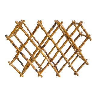 Vintage Natural Bamboo Folding Wine Rack Holder For Sale