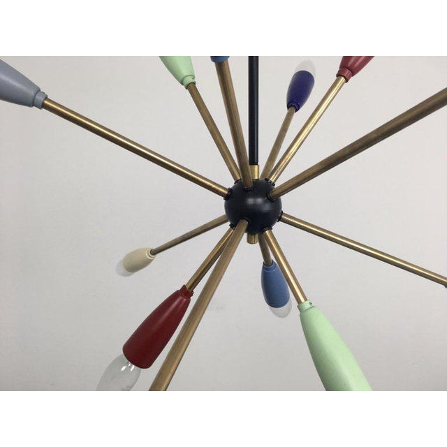 1950s Sputnik Pendant Chandelier Lamp in Different Colors For Sale - Image 4 of 9