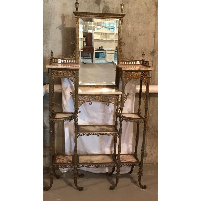 Mid-Century Modern 1990s Mid-Century Modern Gold and Brass Marble Etagere For Sale - Image 3 of 3