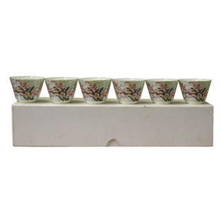 Chinese Light Green Birds Graphic Porcelain Handmade Tea Cup 6 Pieces Set Preview