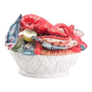 Mid-Century Majolica Style Ceramic Lobster and Fish Covered Dish For Sale