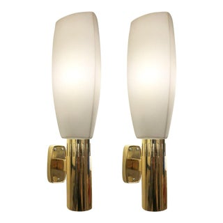 1960s Stilnovo Brass and Glass Sconces, Italy - a Pair For Sale