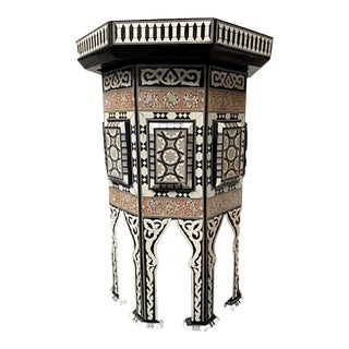Vintage Moroccan Inlaid Mosaic Wood Storage Side Table For Sale