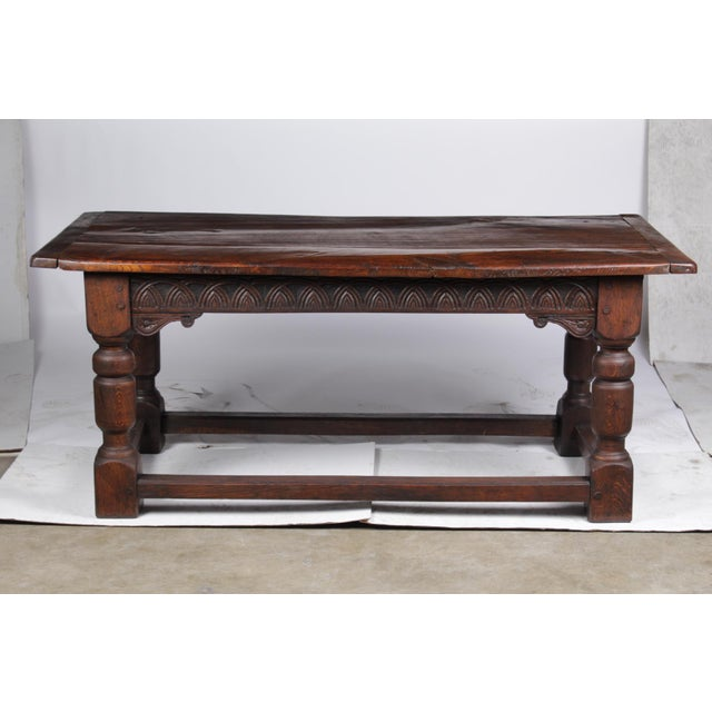 Brown 19th Century Antique French Oak Church Refectory Table For Sale - Image 8 of 8