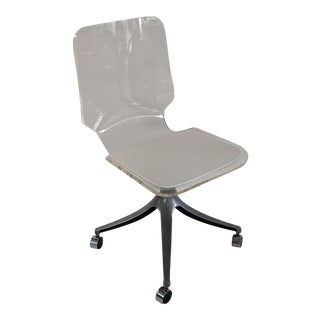 Vintage Lucite Swivel Rolling Chair With Tulip Shaped Base and Patent Leather Seat For Sale