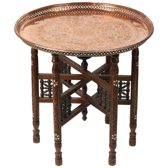 Moroccan Copper Tray Table With Folding Base For Sale - Image 11 of 11