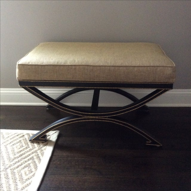 Upholstered Bench With Metal Tole Base - Image 4 of 5
