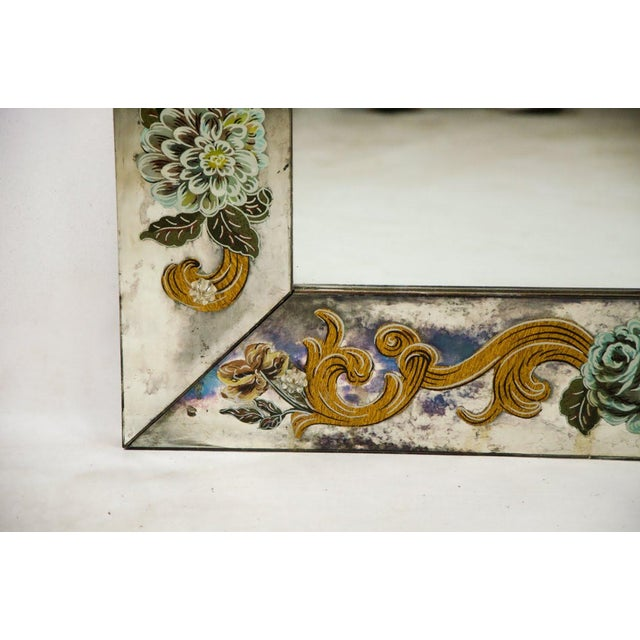 Late 19th Century Antique Venetian Reverse Hand Painted Floral Wall Mirror For Sale - Image 11 of 13
