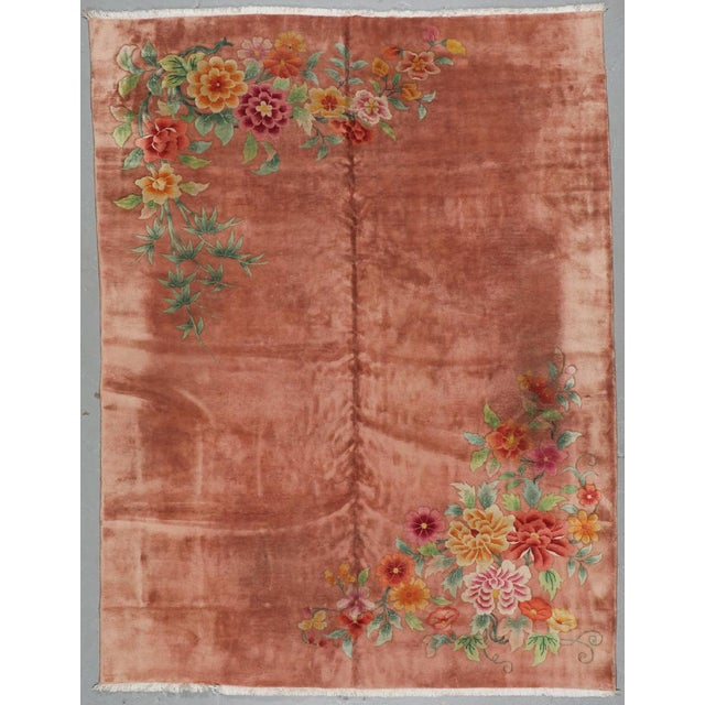 Early 20th Century Orange Chinese Art Deco Rug For Sale - Image 5 of 6