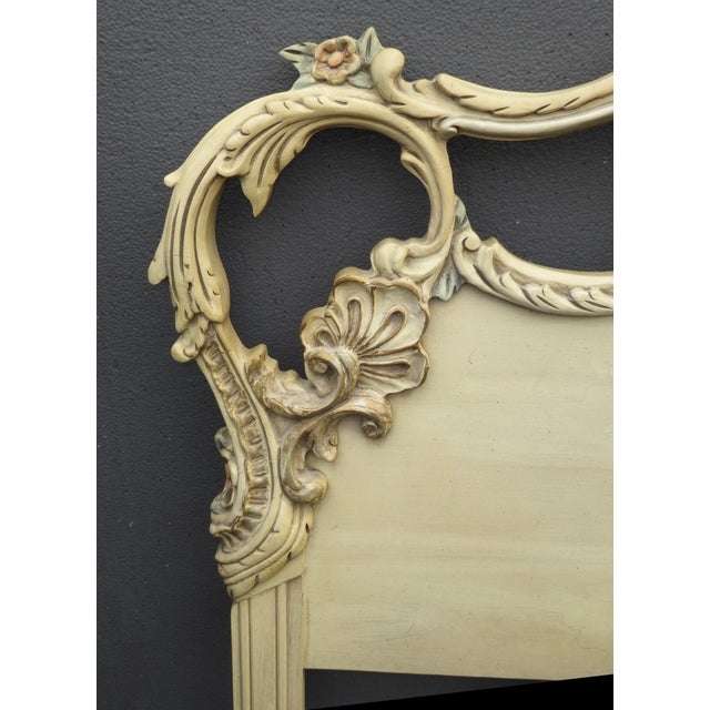 Textile Vintage French Provincial Rococo Chic Shabby Ornate Off White King Headboard W Scrolls For Sale - Image 7 of 10