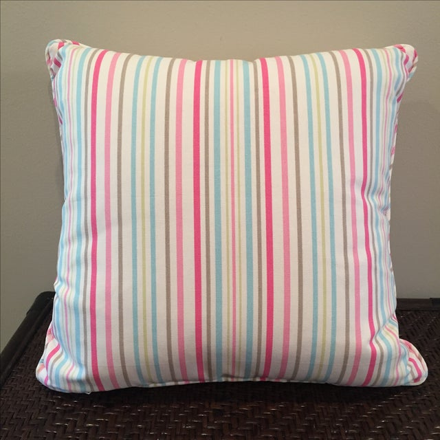 Pink, Blue & Green Throw Pillow - Image 2 of 4