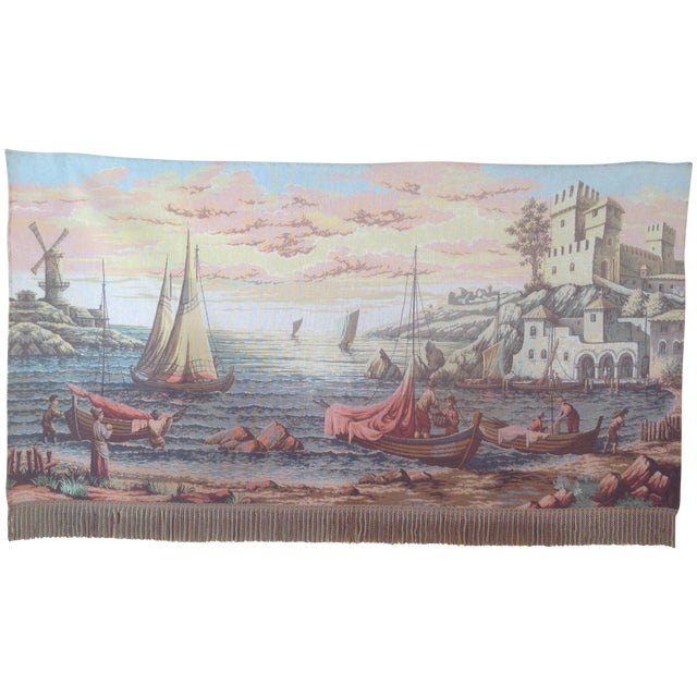 French Dutch Port Scene Tapestry For Sale