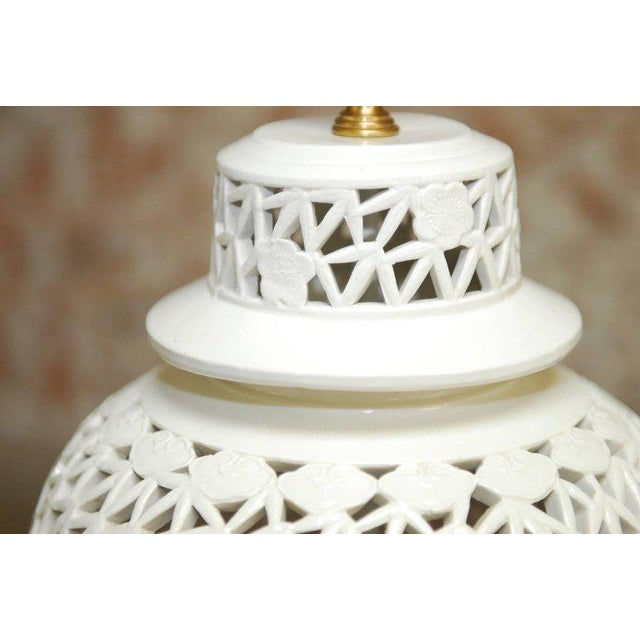 Blanc de Chine Porcelain Ginger Jar Table Lamps - A Pair For Sale In San Francisco - Image 6 of 9