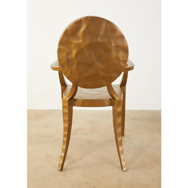 Daphne Bronzed Hammered Iron Louis XVI Style Armchair For Sale - Image 12 of 13