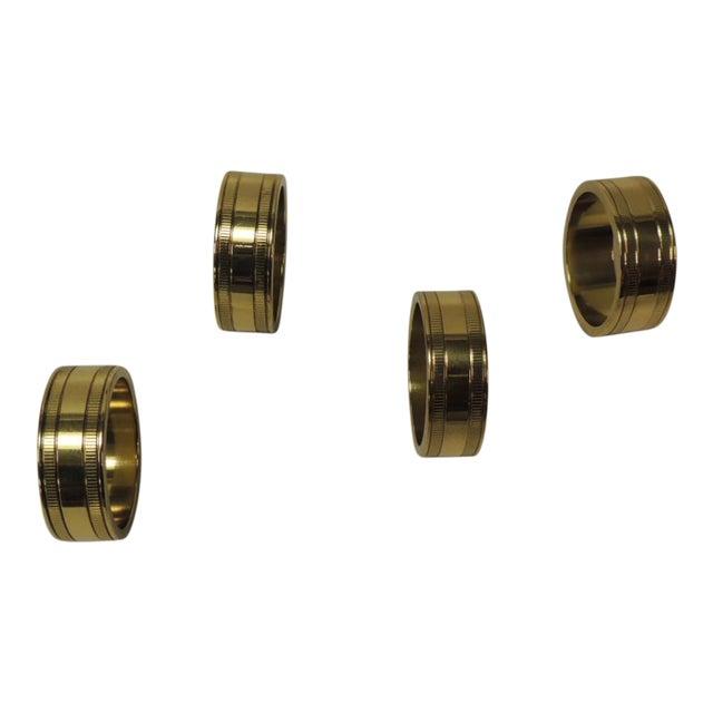 Set of '4' Solid Brass Ralph Lauren Ribbon Napkin Holders For Sale