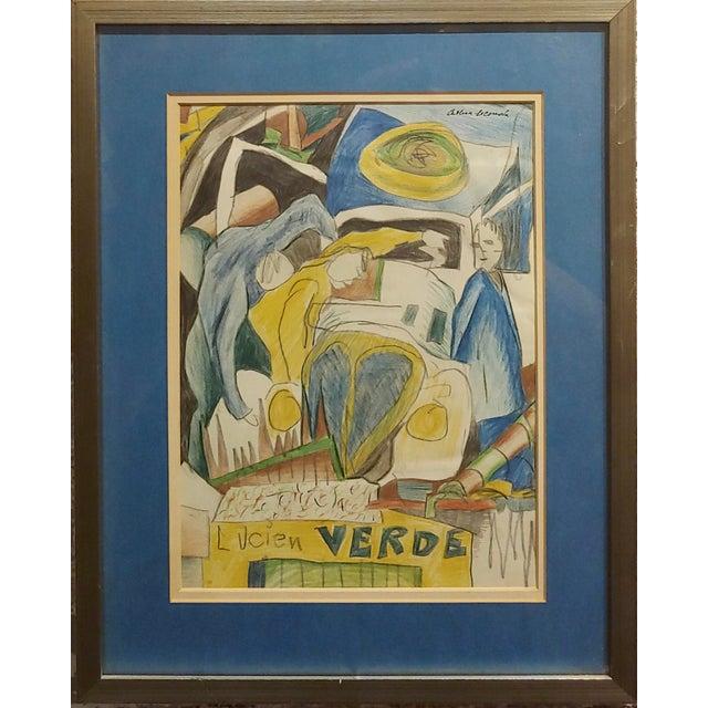 Arthur Secunda - Car accident - Original painting pastel, charcoal,gouache,pencil Mix media on paper -Signed circa...