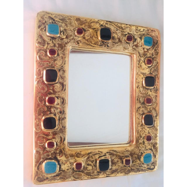 1970s Francois Lembo Mirror Gold With Black, Red, Turquoise Jewels France For Sale - Image 5 of 5