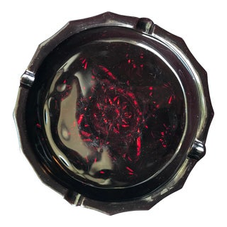 Vintage Ruby Red Ashtray Early American Pressed Glass Mid Century Star For Sale
