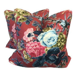 "Schumacher ""Elizabeth"" in Multi 22"" Pillows-A Pair For Sale"