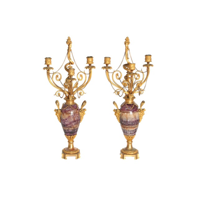 Neoclassical / Louis XVI-Style Gilt Bronze Mounted Blue John Candlelabra For Sale - Image 12 of 12