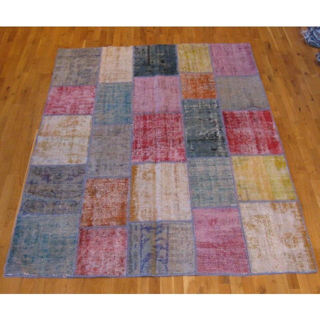 Rustic Patchwork Rug - 6′ × 8′3″ - Image 2 of 3