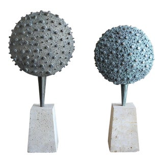 Mid Century Patinated Cast Bronze Sculptures - a Pair For Sale