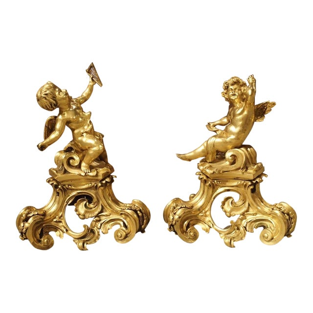 Pair of Antique Bronze Dore Cherub Chenets From France, 19th Century For Sale