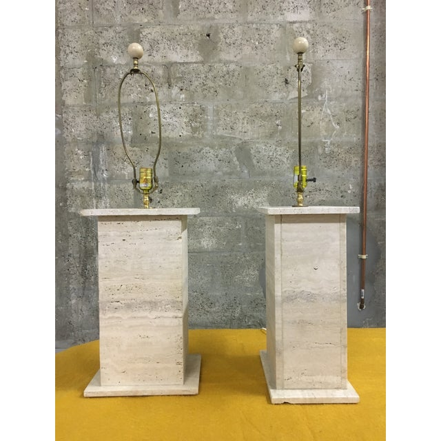 Modernist Travertine Square Table Lamps - Pair - Image 4 of 7