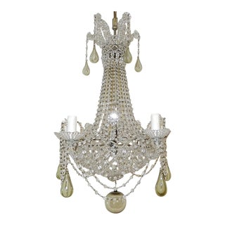 1940's Completely Beaded Basket Green Murano Mouth Blown Drops Chandelier For Sale