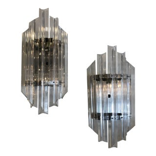 Vintage Hollywood Regency Chrome and Lucite Lucite Wall Light Sconces -A Pair For Sale