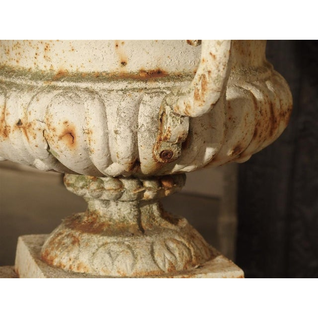 Pair of Antique Cast Iron Vases on Pedestals From Besancon France, Circa 1915 For Sale - Image 4 of 13