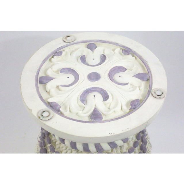 Hollywood Regency Vintage Plaster Tassel Side Table For Sale - Image 3 of 9