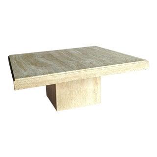 1970s Italian Minimalist Square Travertine Pedestal Coffee Table For Sale