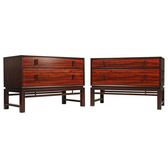 Edward Wormley for Dunbar Brazilian Rosewood, Ebony and Mahogany Nightstands - a Pair For Sale - Image 10 of 10