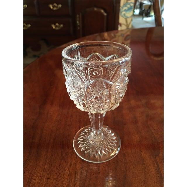 Vintage Pressed Glass Decanter With Goblets Wine Set For Sale - Image 10 of 12