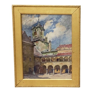 Antique Oil on Paper Southern European Courtyard With Arched Walkways For Sale