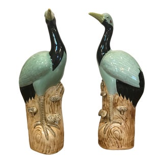 Green Ceramic Bird Figurines- A Pair For Sale