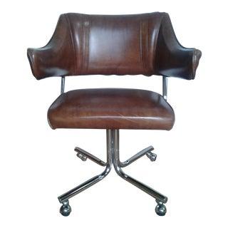 Mid Century Chrome and Vinyl Douglas Swivel Office Chair