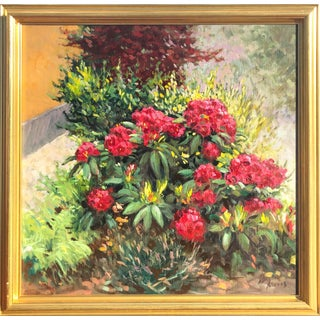 Vintage Floral Oil Painting on Canvas For Sale