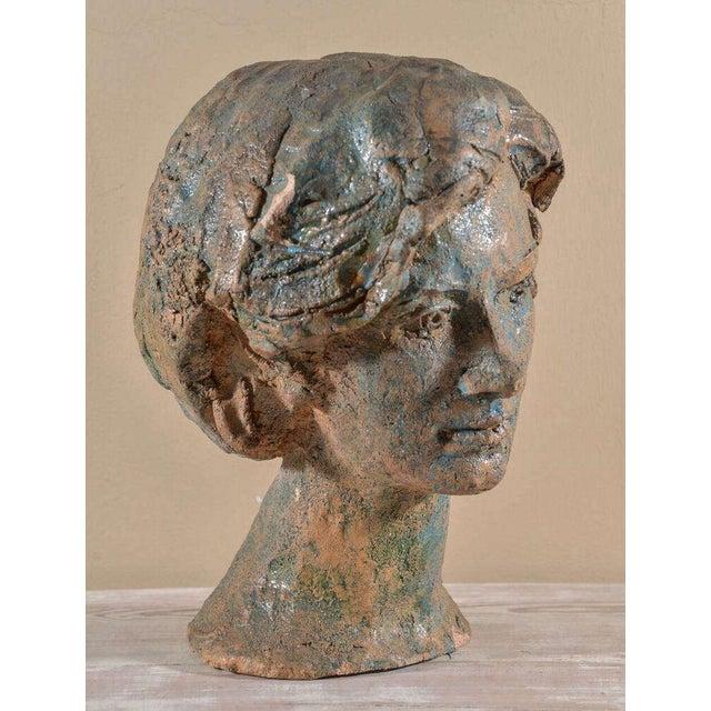 "Original colored chalkware copy of the ""Testa - Ritratto femminile"" (Head - Female portrait) sculpted in terracotta by..."