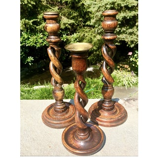 19th Century English Turned Oak Barley Twist Candle Holders - Set of 3 Preview