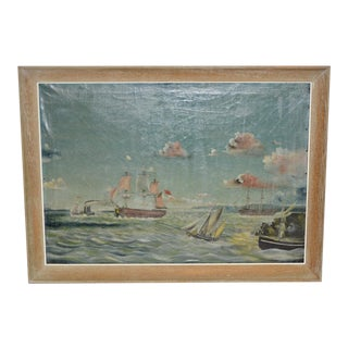 Early 20th Century American Maritime Oil Painting For Sale