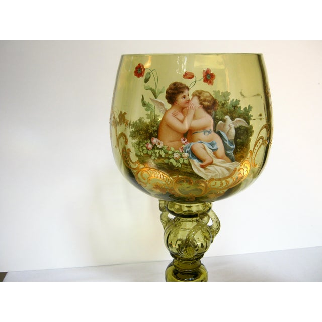 Antique Hand Painted Blown Glass Loving Chalice For Sale In Providence - Image 6 of 11